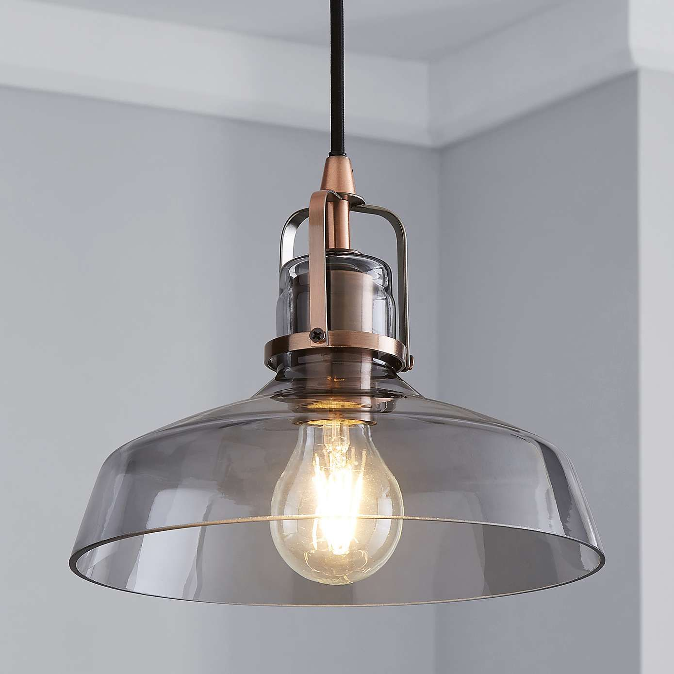 Suva Industrial 1 Light Pendant Smoked Glass Ceiling Fitting Ceiling Lamp Shades Ceiling Lamps Bedroom Smoked Glass
