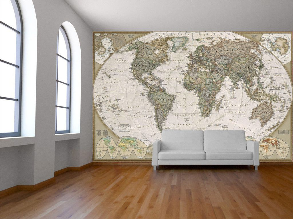 Old world map wall mural wall maps removable wall and photo wallpaper national geographic wall map executive world political laminert strrelse 185 x 122 pris kr gumiabroncs Image collections