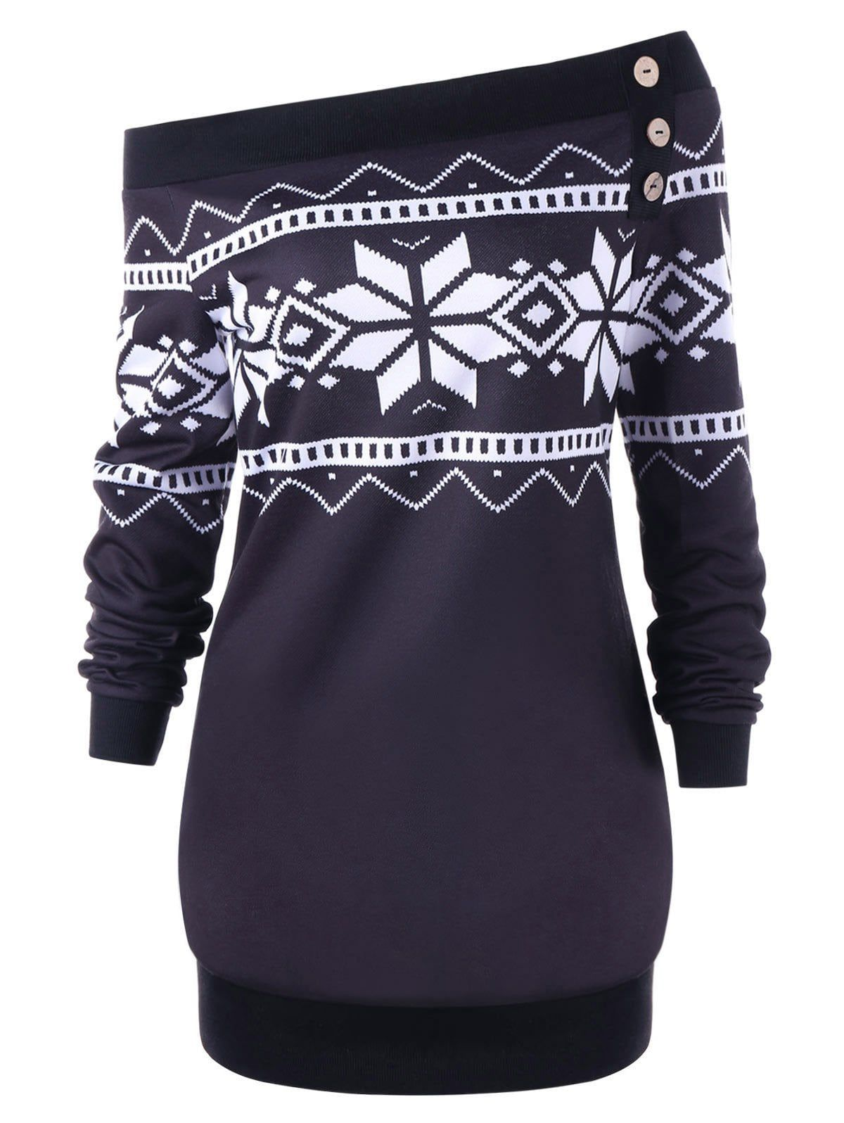 bad21e54b9   85% OFF   2019 Plus Size Pullover Snowflake Geometric Skew Neck Sweatshirt