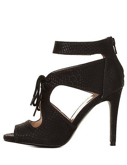 d88f33eaebc1 Snake-Textured Cut-Out Lace-Up Heels  Charlotte Russe