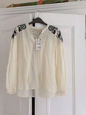 6227d1a304a323 BNWT Zara boho peasant blouse off white black embroidery size XS 100%  cotton in Clothes, Shoes & Accessories, Women's Clothing, Tops & Shirts |  eBay