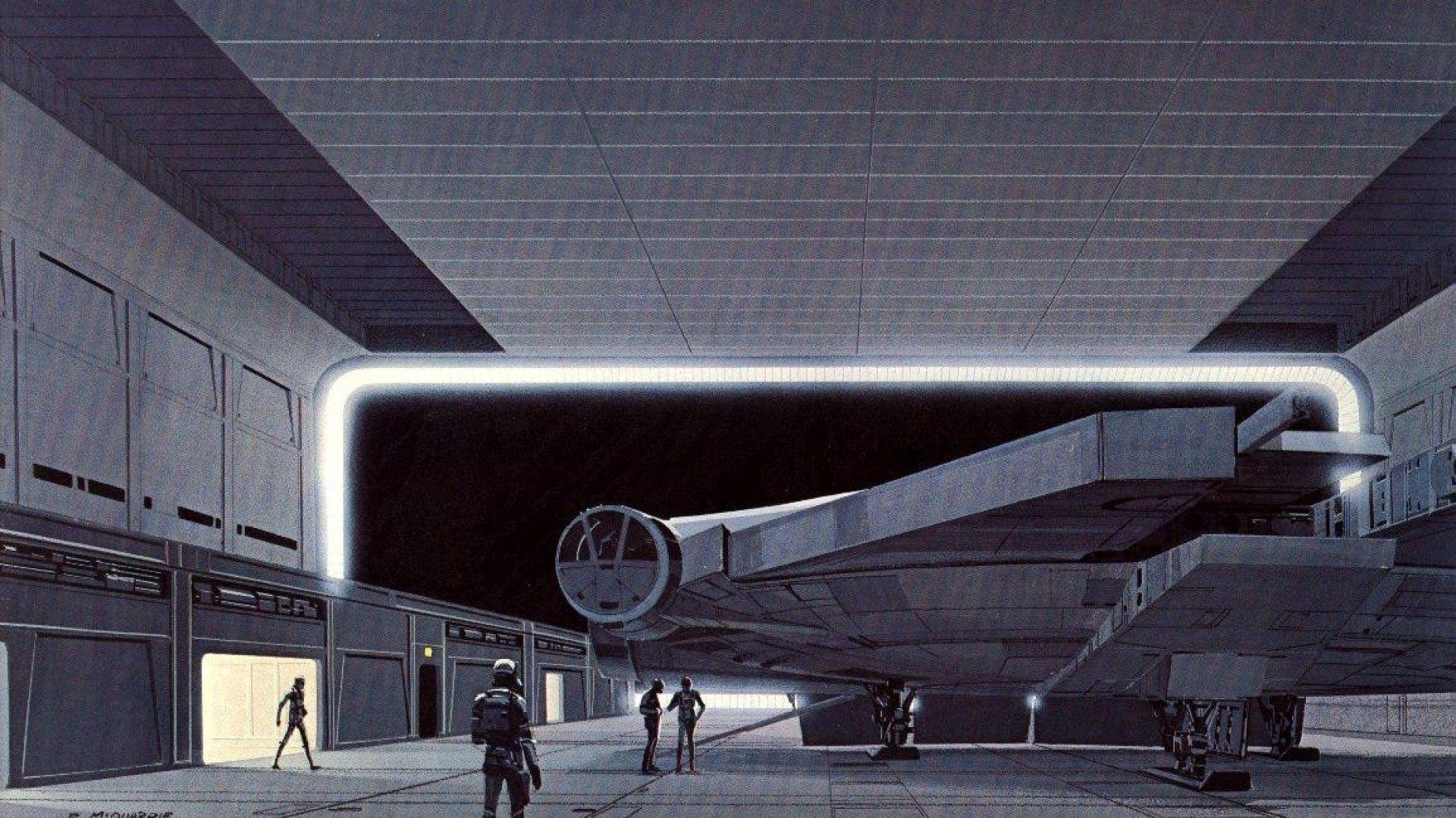 Science Fiction Artwork Ralph Mcquarrie Hangar Vi Wallpaper Star Wars Concept Art Star Wars Illustration Ralph Mcquarrie