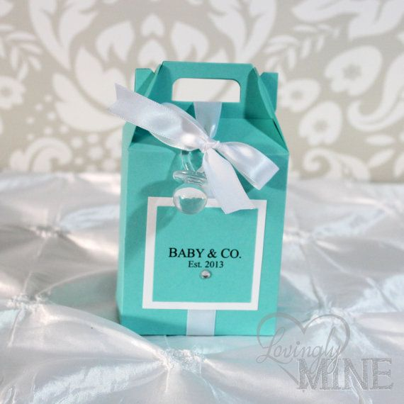 Baby Shower Gable Box Favors In Light Teal And White