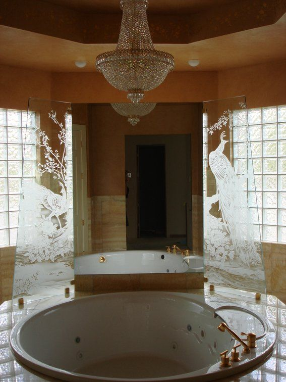 Custom Made Frameless Etched Tempered Starfire Glass As Bathtub ...