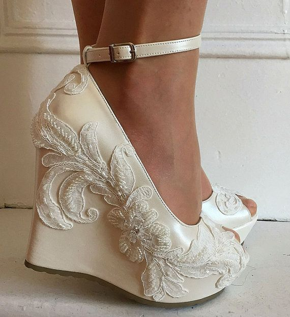 Wedding Wedding Wedge Shoes Bridal Wedge Shoesbridal Etsy Wedge Wedding Shoes Bride Shoes Wedges Bridal Wedges