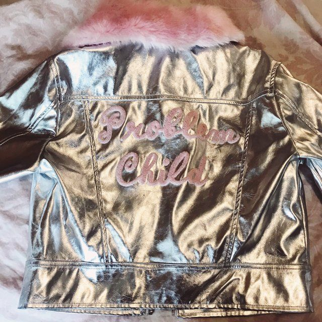 710117c7e6 Lazy Oaf problem child boxy silver leather style jacket with - Depop