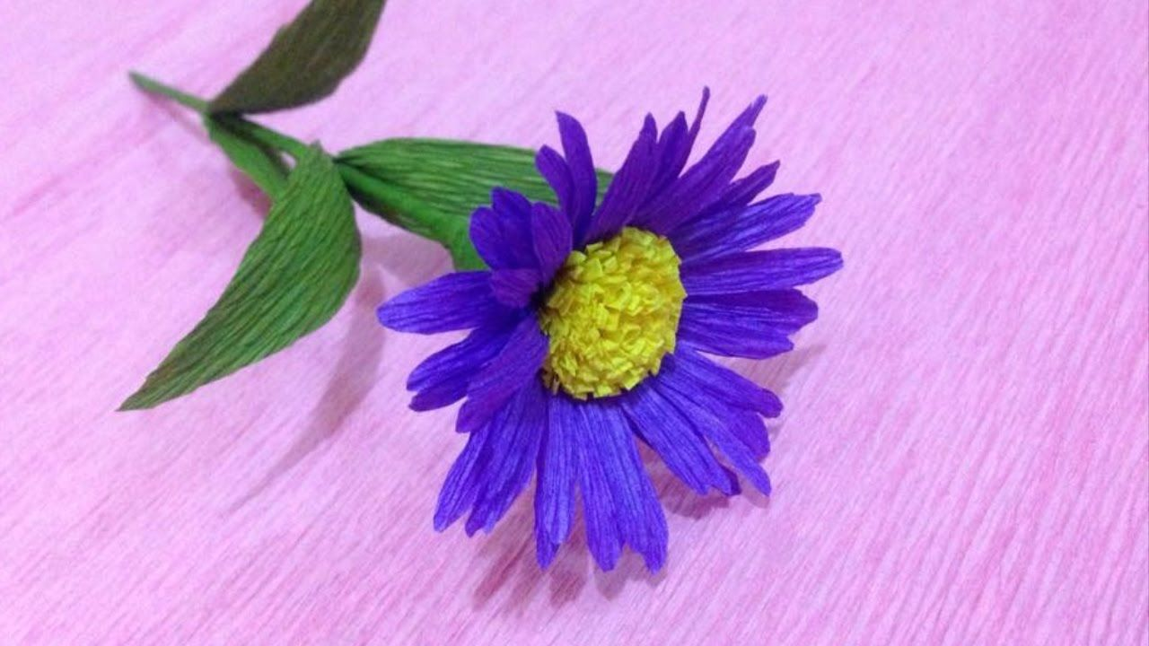 Beautiful Aster Crepe Paper Flowers Flower Making Of Crepe Paper