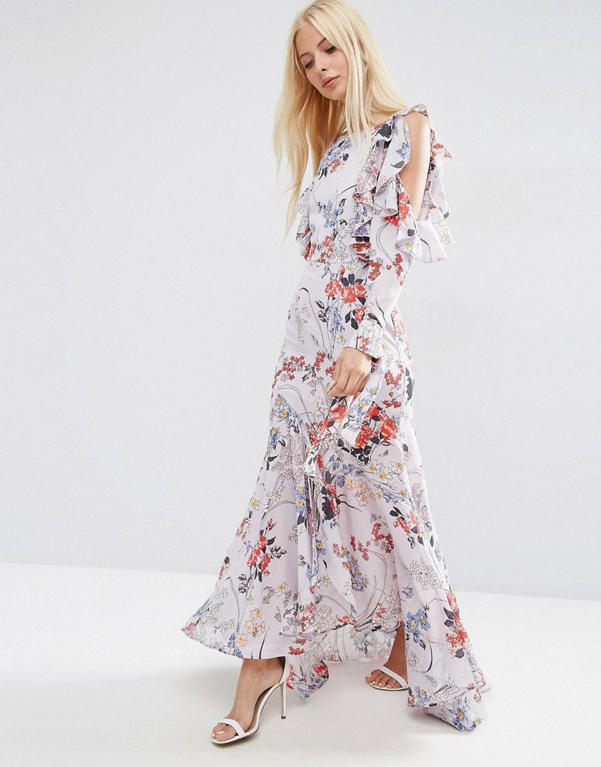 Cold Shoulder Long Sleeve Ruffle Maxi Dress In Gray Floral | Cold ...