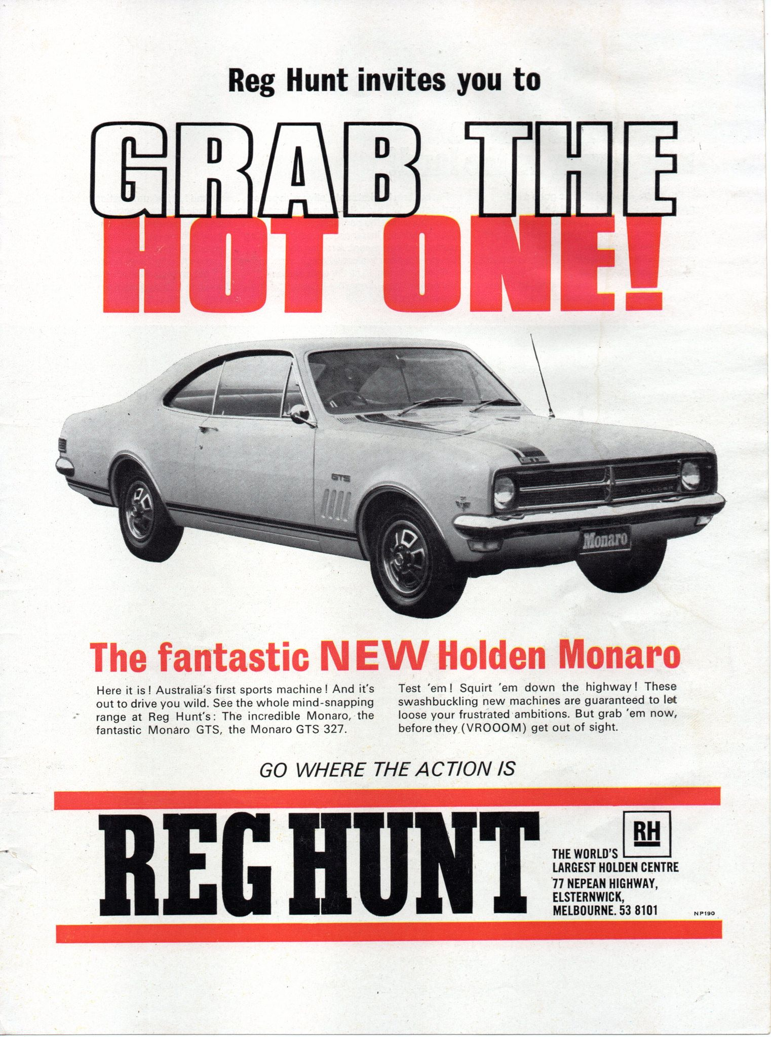 95d6f41858 1968 Reg Hunt HK Holden Monaro GTS-327 Aussie Original Magazine  Advertisement