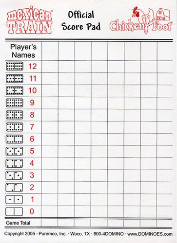 Printable Domino Score Sheets  Dominoes Score Sheet  Books Worth