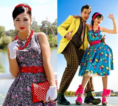 08a065ef1fee Платья в стиле стиляг (61 фото)  на выпускной, с пышной юбкой, в горошек,  подъюбник, детские