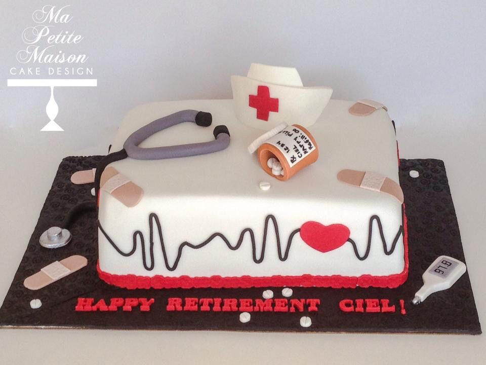 Fondant Nurse Nursing Medical Er Emergency Retirement Doctor Cake