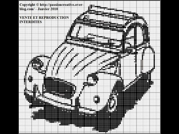 v u00e9hicule - 2cv- point de croix - cross stitch
