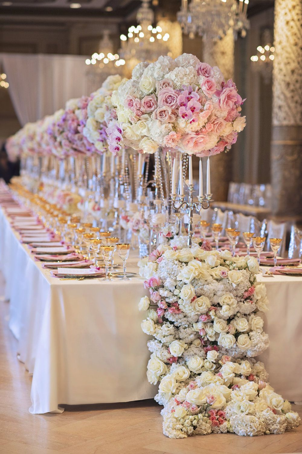 Wedding ideas long wedding tables wedding inspirations for Wedding banquet decorations