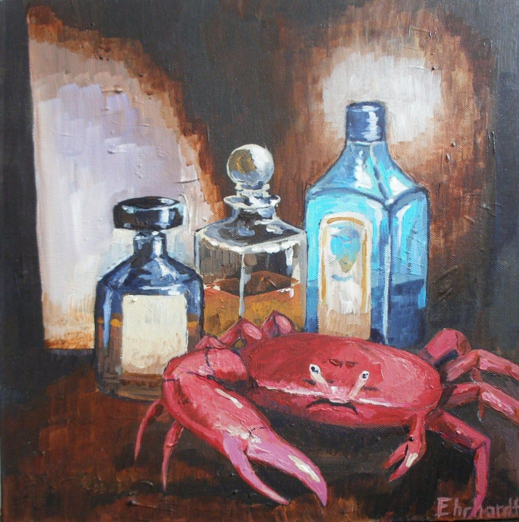 A song of small things (crab and gin), 2013  40 x 40 cm, acrylic on canvas  in private hands  www.michaelehrhardt.de