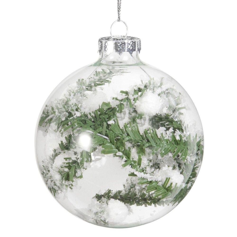 aa28f57a8f4 Bola de Navidad de cristal y árbol nevado
