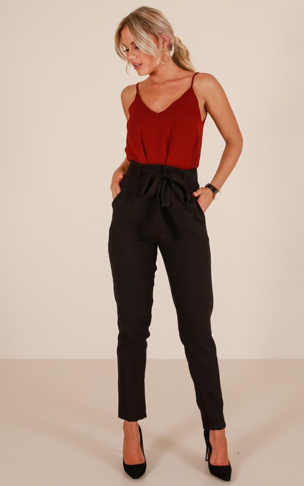 Influence Pants In Black Linen Look Produced