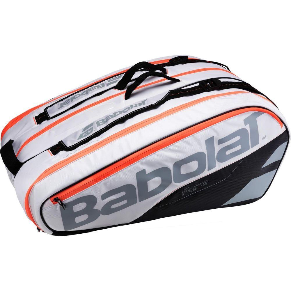 Babolat Badminton Tennis Bag Rhx12 Pure White Orange Racket Racquet 751161 101 Babolat Tennis Bags Backpacks Tennis Bag Bags