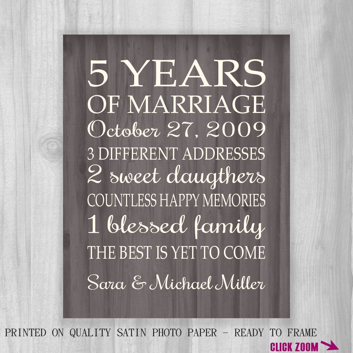 5th Anniversary Gift Print Faux Wood 5 Years 10 15 20 25 Custom Years Personalized Important Dates Marriage Art Modern Wood Background 5th Wedding Anniversary Gifts For Him 5th Wedding Anniversary Gift 5 Year Anniversary Gift