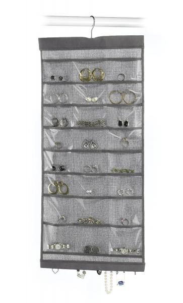 Hanging Jewelry Organizer Gray Hanging jewelry organizer