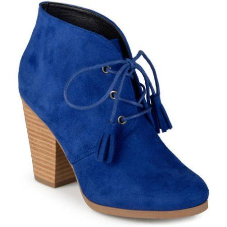 6c87e4ebab Brinley Co. Women's Chunky Heel Lace-Up Faux Suede Ankle Booties, Size:  8.5, Blue