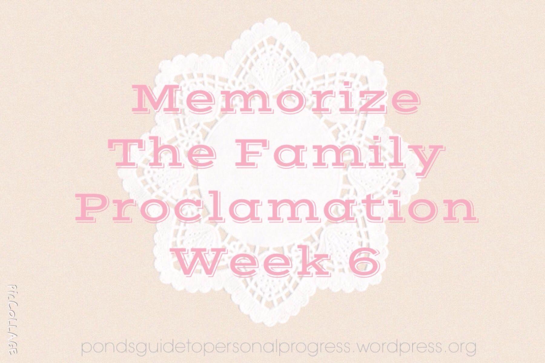Memorise The Family Proclamation Week 6
