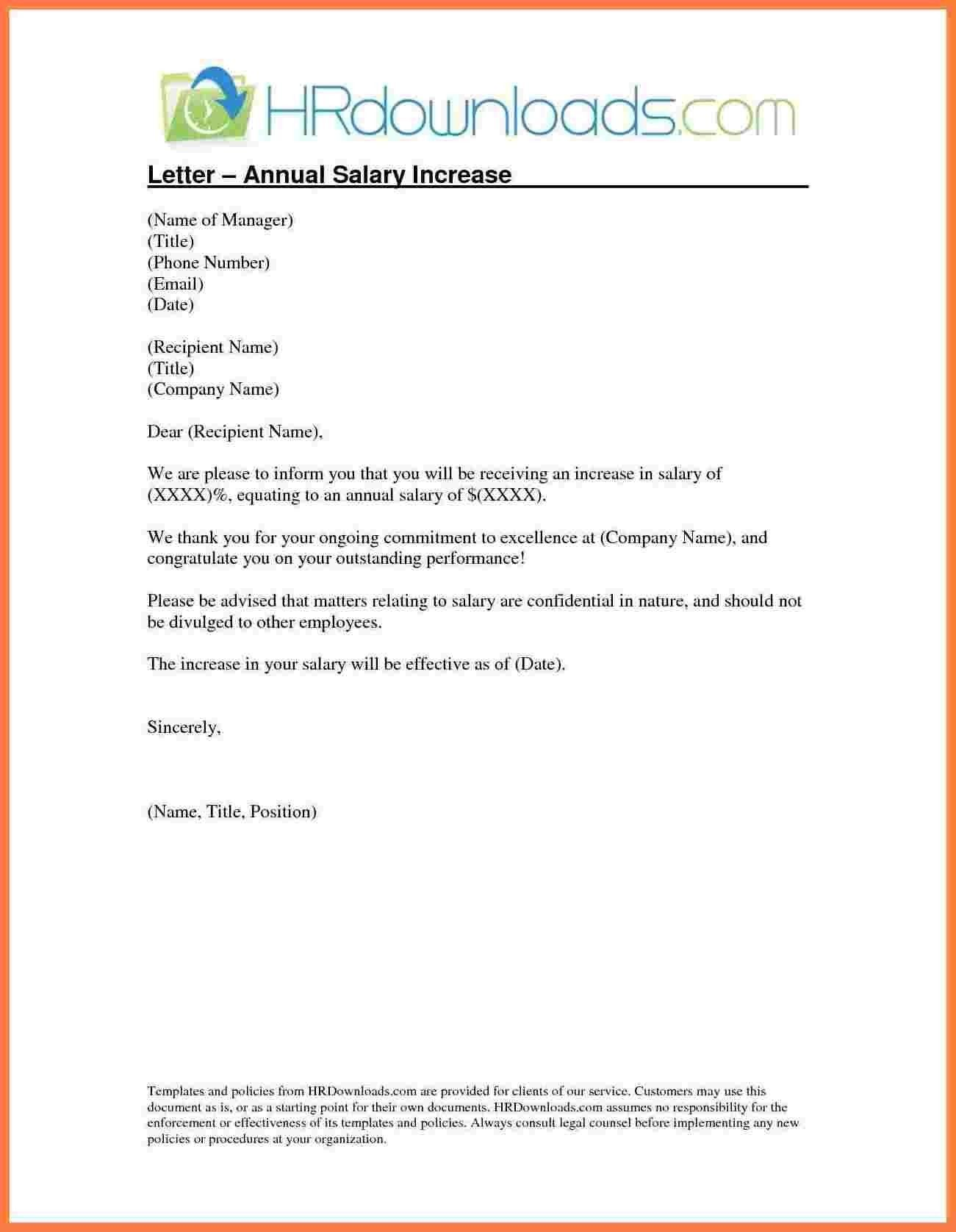 Salary Increment Letter format by Employer Copy 5 Template Letter