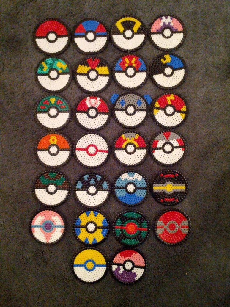 This has been my project of late; creating Hama Bead Pokéballs. I thought I could use them for tea coasters, but I'm going to need to find a lot of friends to have tea with! From the top left the P...
