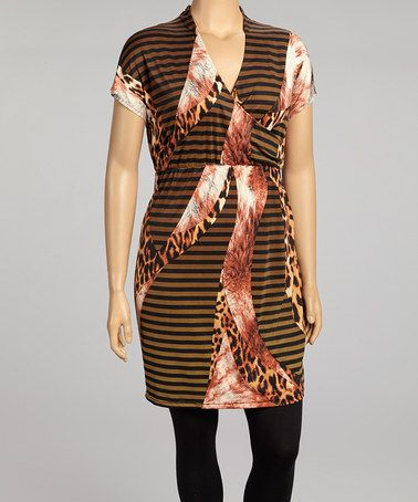 Take a look at this Brown & White Stripe Surplice Dress - Plus by Highness NYC on #zulily today!