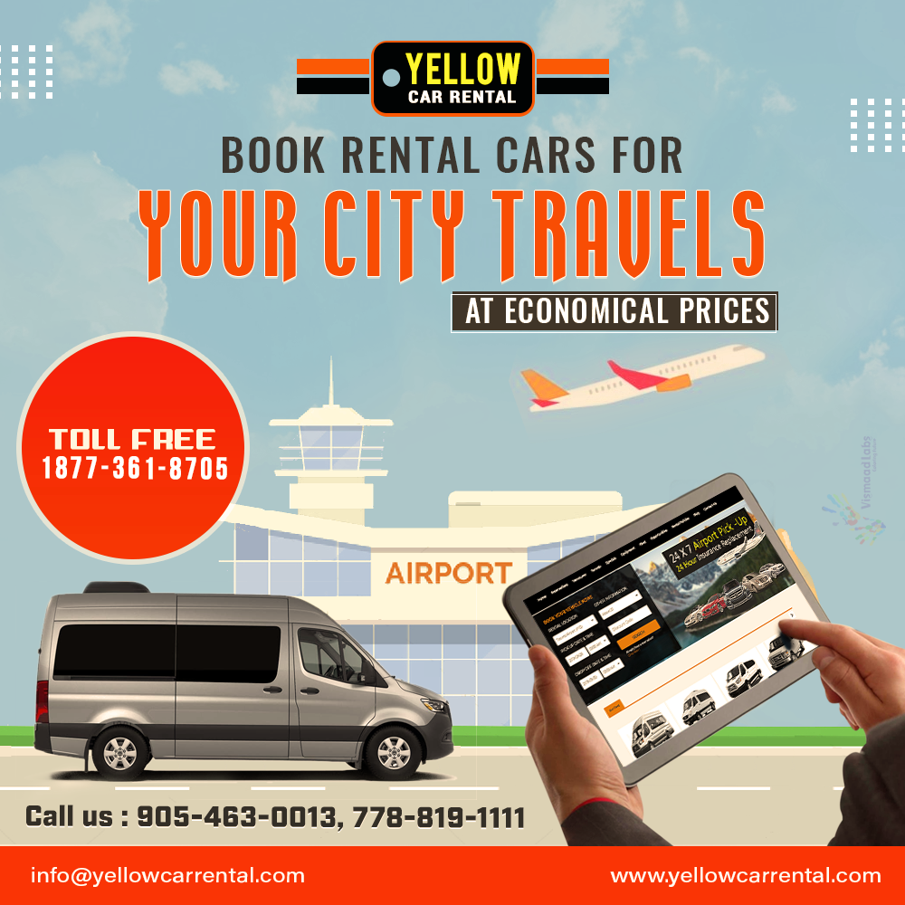 Do You Require A Car Or Van In Toronto Or Vancouver Book It Toll Free On 1877361 8705 You Must Be Over 21 And Have A Valid Driv Car Rental Book Rentals Yellow Car