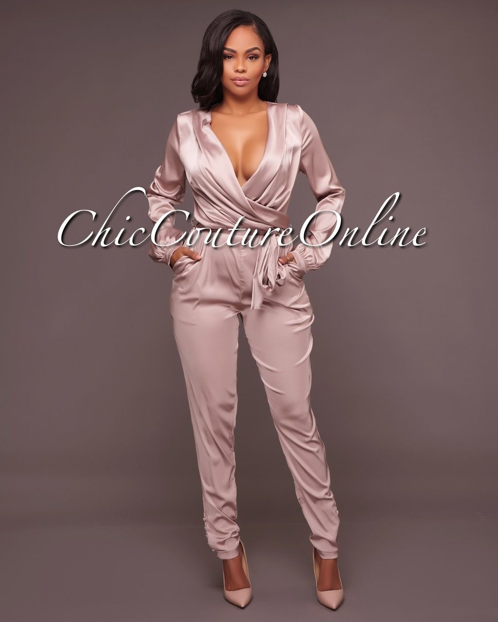 e4940158872 Chic Couture Online - Nova Mink Satin Wrap Plunging V-Neck Jumpsuit