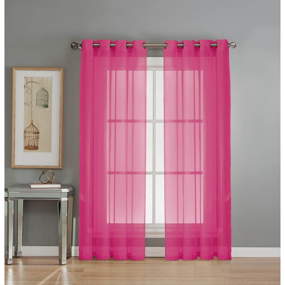 Hot pink curtains - Window Elements Sheer Diamond Sheer Voile Hot Pink Grommet Extra Wide Curtain Panel 56 In