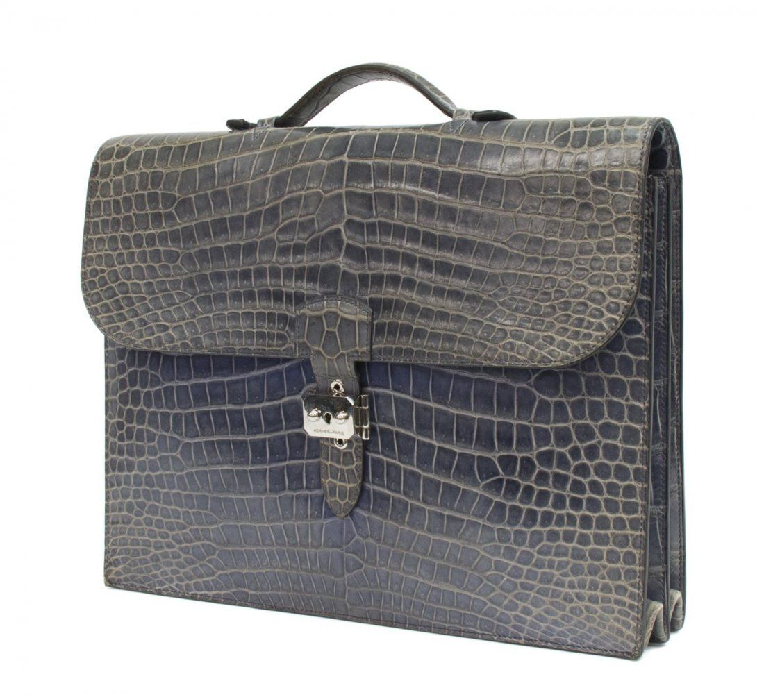 3dede10b5ec5 HERMES SAC A DEPECHE BLUE CROCODILE BRIEFCASE on