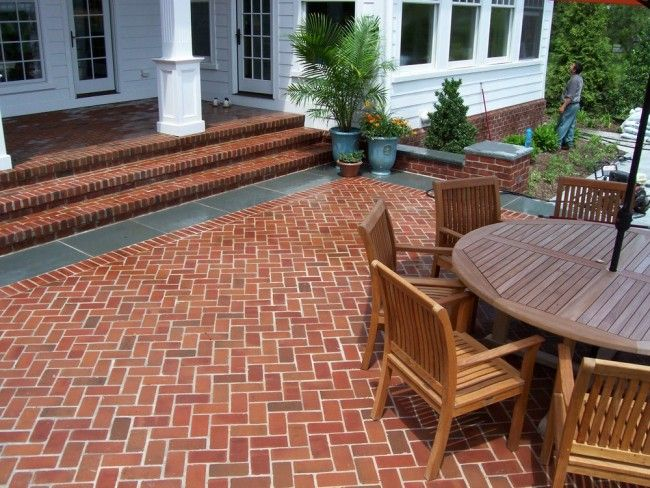 brick herringbone or chevron patio