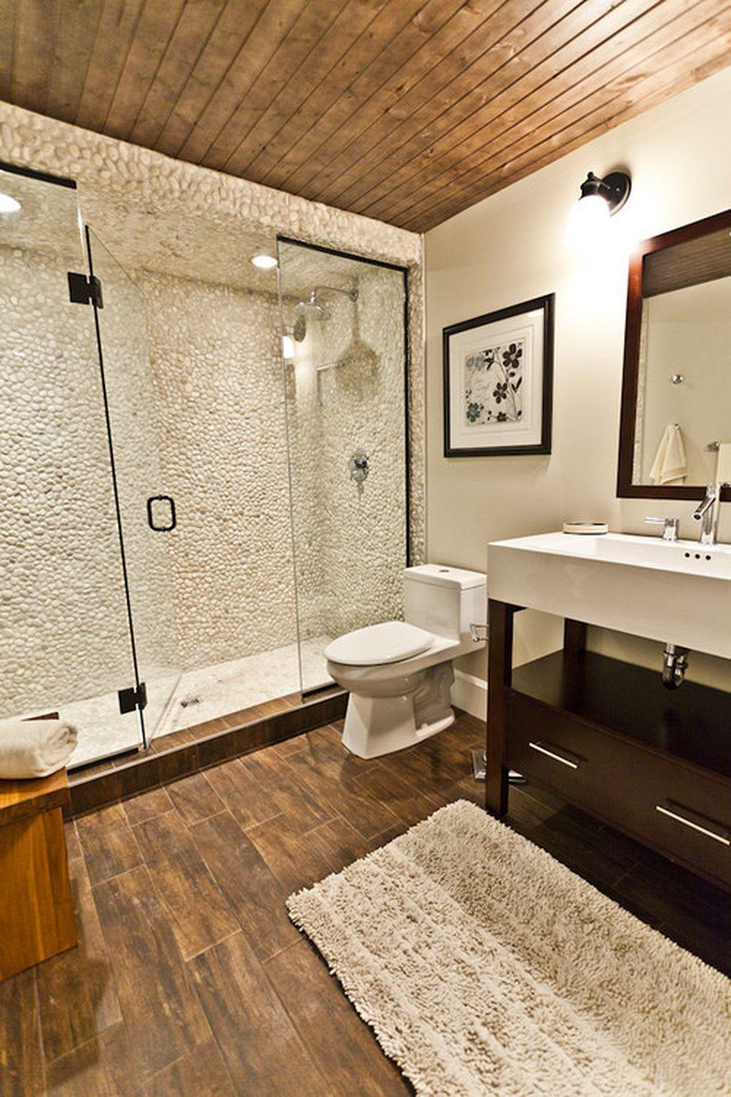 40 Pebble Tile Bathroom Ideas 24