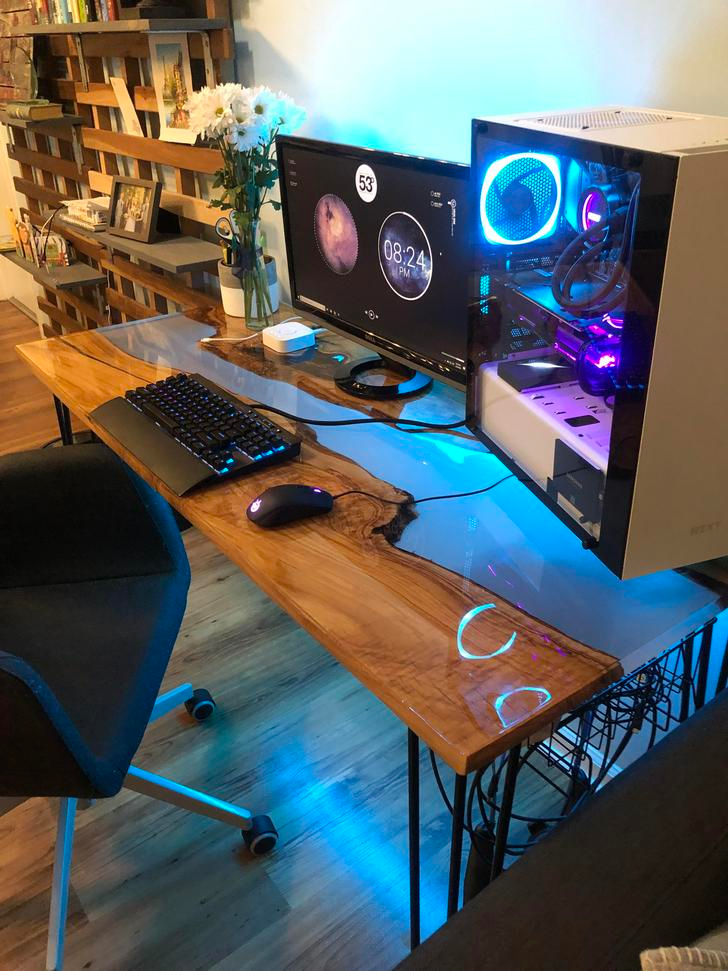 My new river table desk build – {gaming/ desk setup} –
