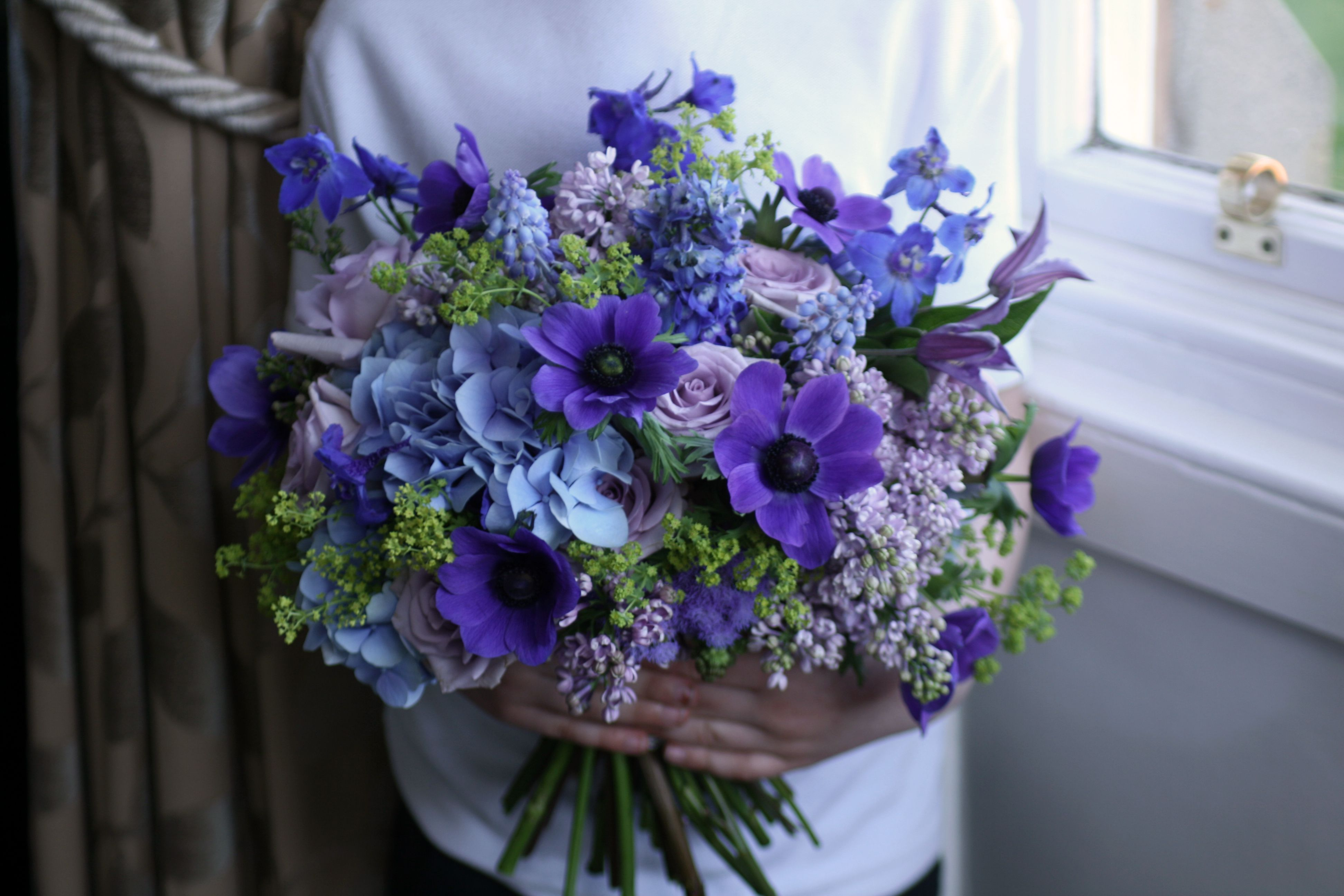 Wedding Bouquet In Blue, Lilac And Purple With Hydrangea
