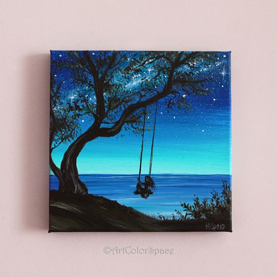Small painting Girl On Tree Swing art Summer day Oil ...