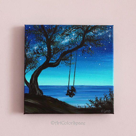 Pequeña pintura chica en el árbol swing arte pintura al óleo sobre lienzo Vía láctea Regalo para los amigos
