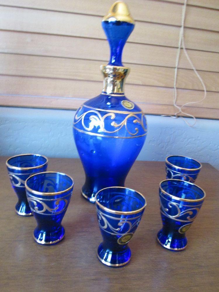 Pottery & Glass 4 Glasses Bohemian/czech Retro Italian Italy Silver Overlay Venetian Art Glass Decanter