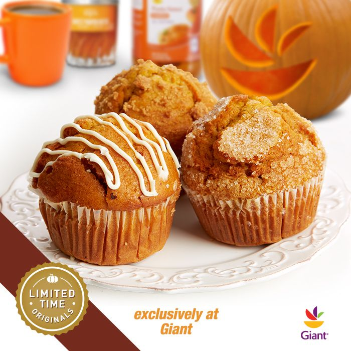Mmmm, pumpkin muffins! Available for a limited time, exclusively at Giant. Quantities and items may vary, see your store for details.