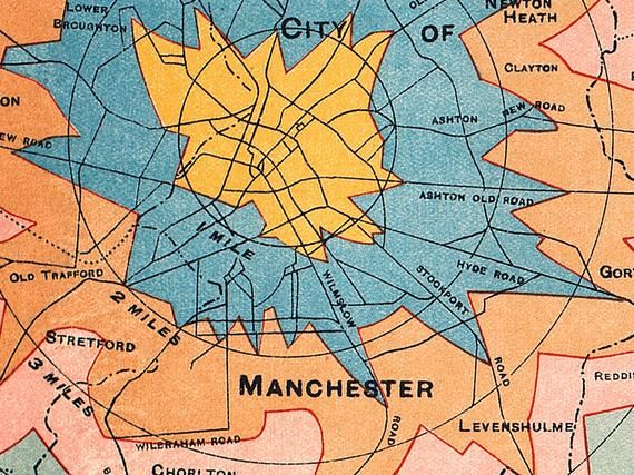 Map Of England Time Zones.Manchester Map 1914 Isochrone Map Of Manchester Travel Times To The