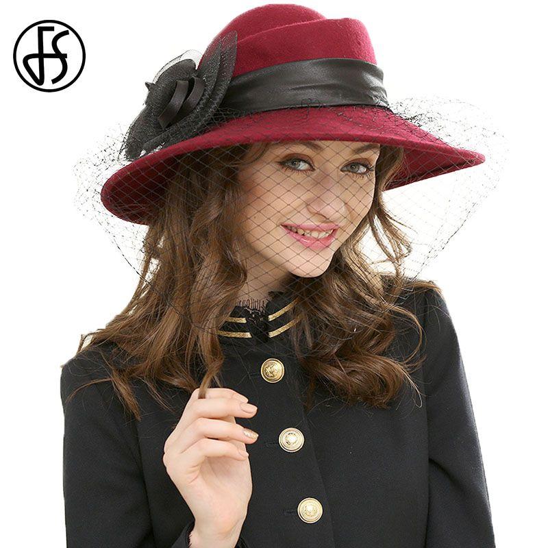 FS Wool Hat Large Wide Brim Women Winter 2019 Black Fedora Hats Veil Felt  Jazz Cap d10653ece8f1