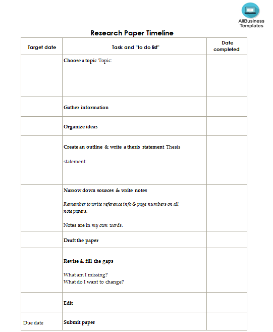 How To Make A Research Paper Timeline An Easy Way To Start Is To Download This Research Paper Timeline Template No Research Paper Templates Business Template