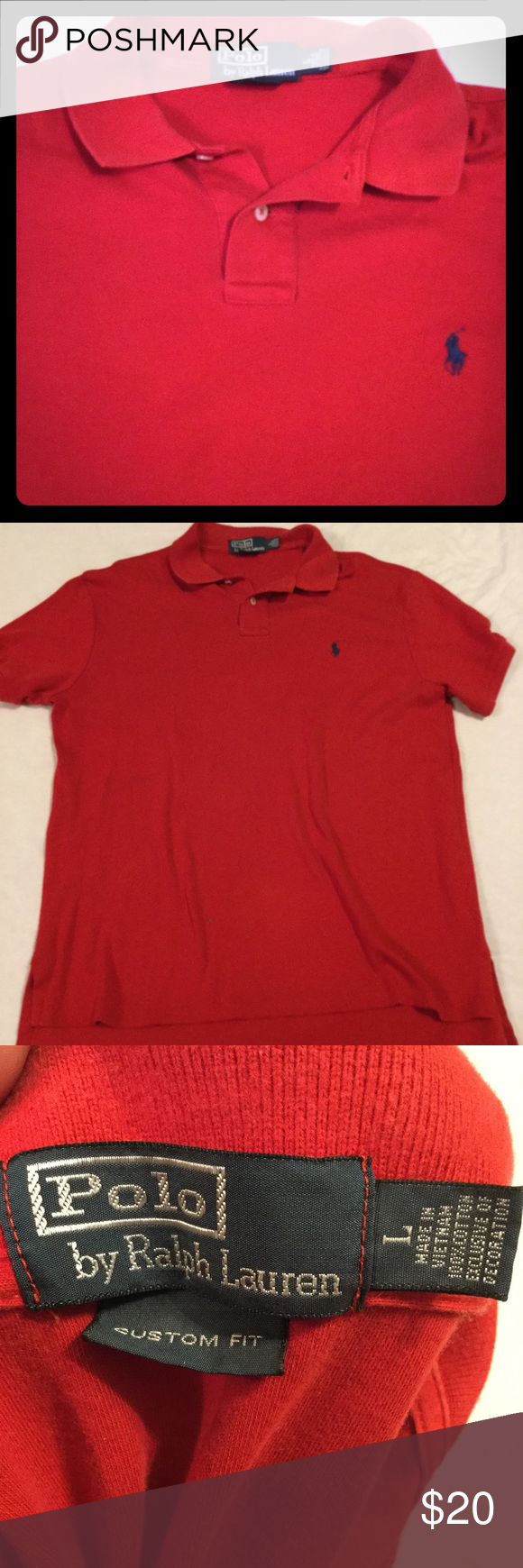 Selling this Polo Ralph Lauren custom fit red men's shirt large on Poshmark! My username is: pennypicking. #shopmycloset #poshmark #fashion #shopping #style #forsale #Polo by Ralph Lauren #Other