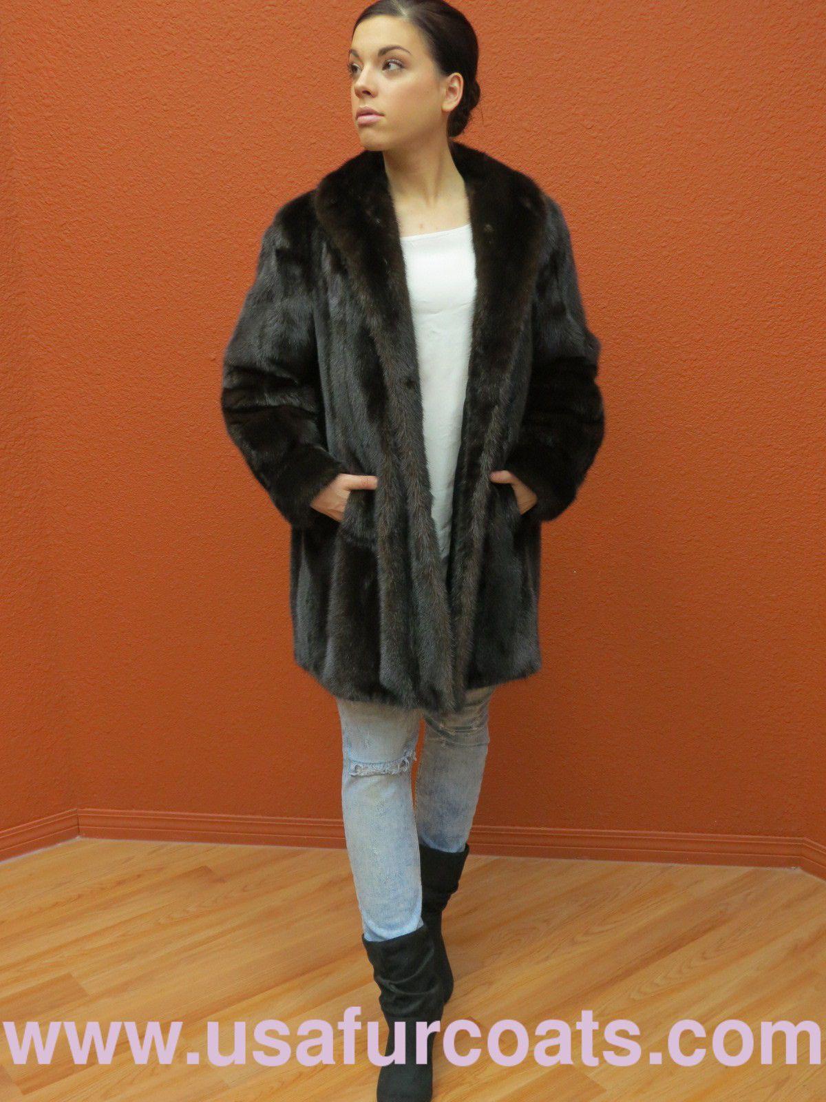 Clean Pristine Canada Majestic Genuine Dark Mahogany Mink Fur Car ...