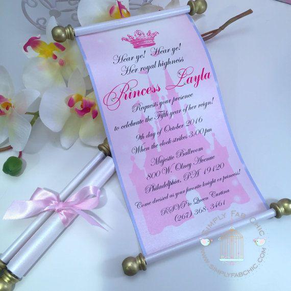 Royal Disney Princess Scroll Invitation Birthday Wedding Invitation