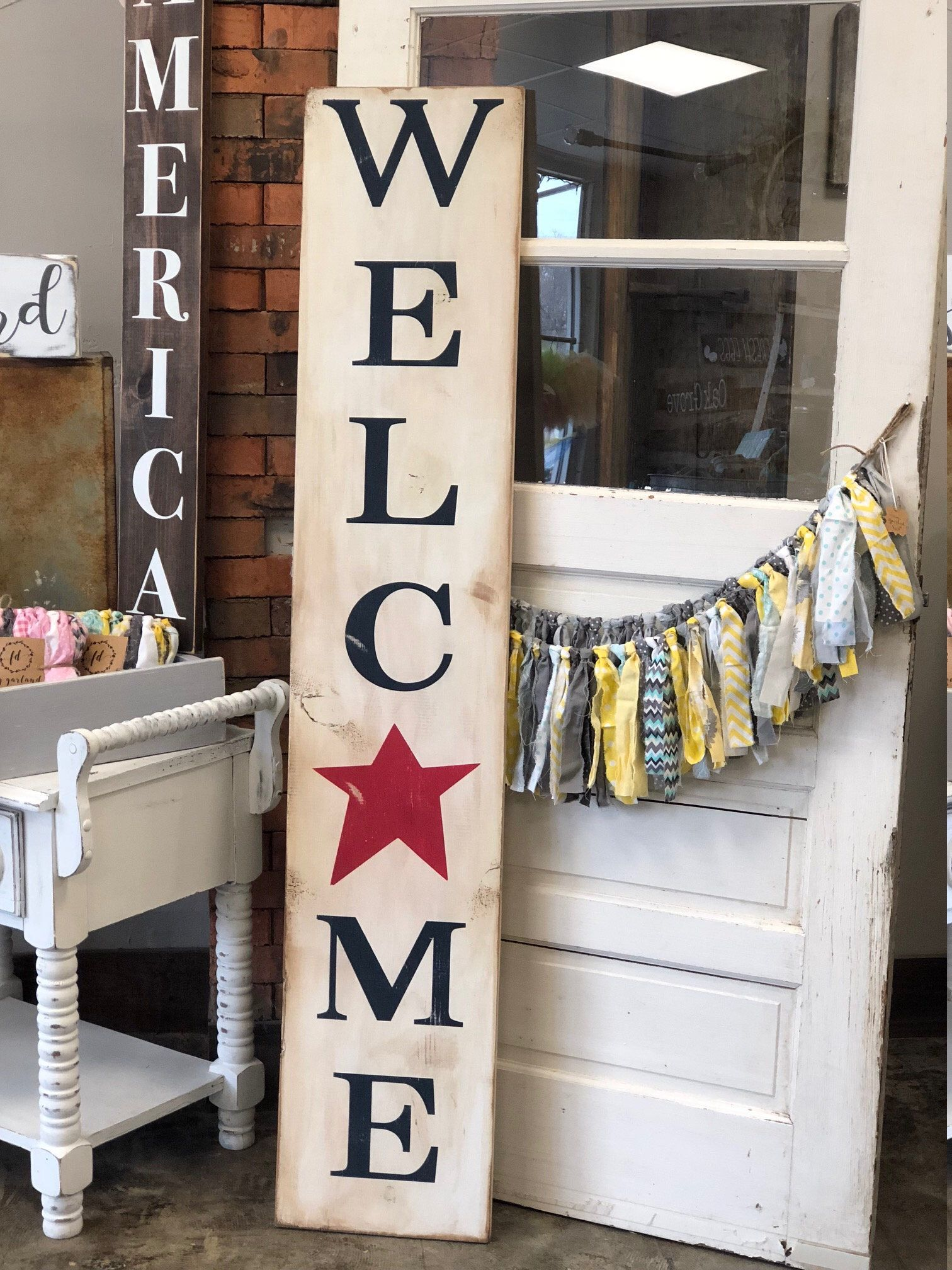 Welcome Sign Tall Porch Rustic Farmhouse Style Country Chic Large Wooden Sign Fourth Of July Labor Day Independence Tall Standing Distressed Porch Welcome Sign Wooden Signs Farmhouse Style Sign