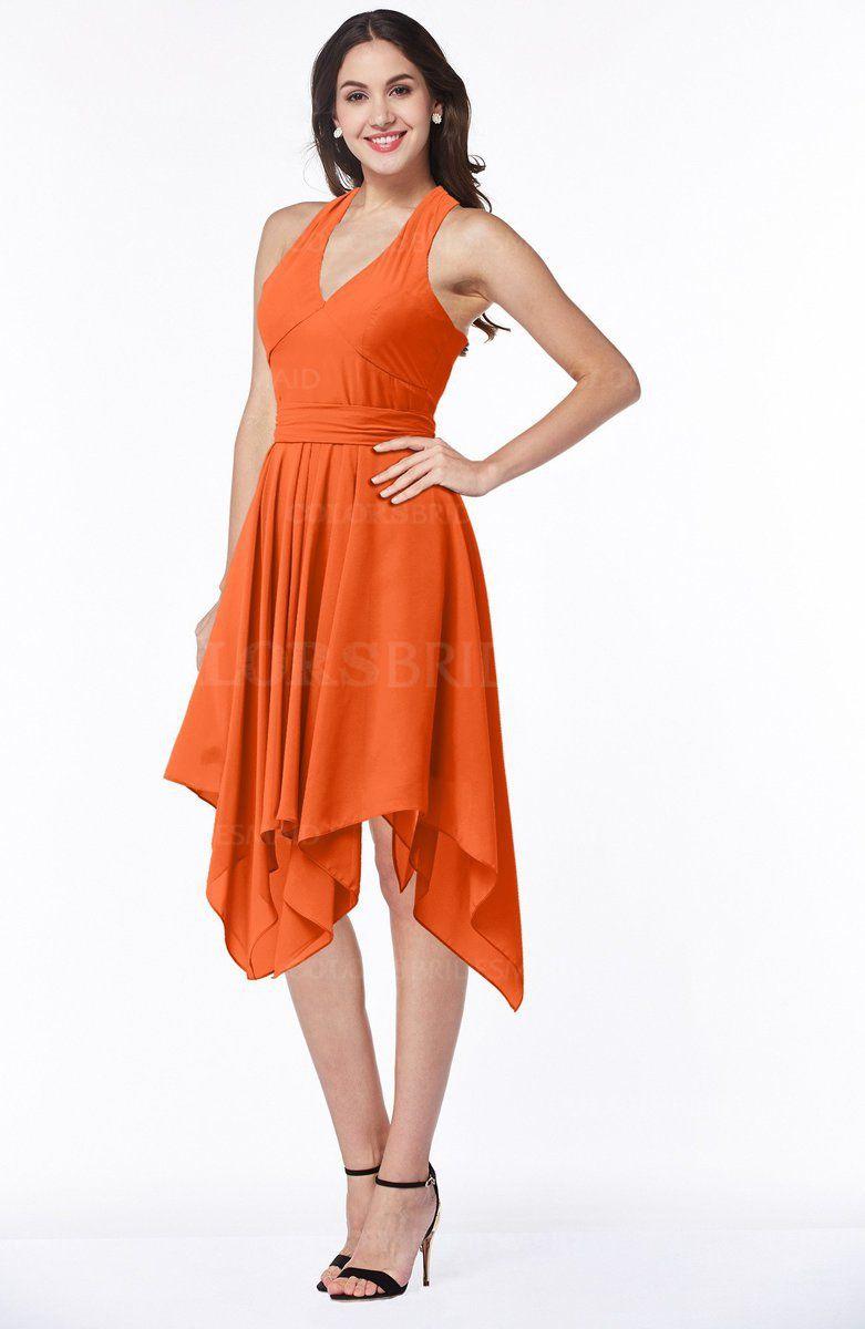 Tea length plus size wedding dresses  ColsBM Delaney  Tangerine Bridesmaid Dresses  bridesmaids dresses