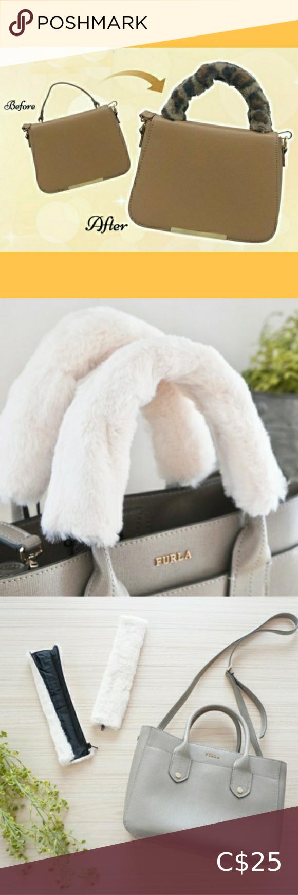 White Fur Bag Handle Wrap Handle Cover In 2020 Fur Bag Bag Handle Handbag Handles
